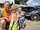 Family walks away from head-on highway crash