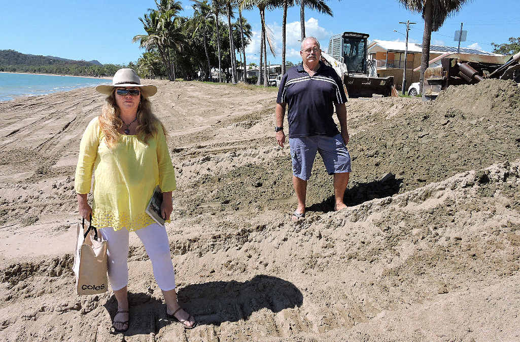 Resident Jacqueline Kelly and Seaforth Progress Association committee member Chris Hayes agree to differ in their opinions over the benefits of sand scraping.