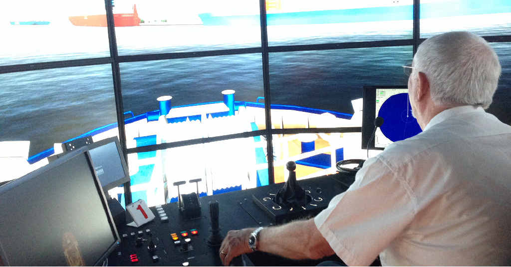 A pilot at the new simulator.