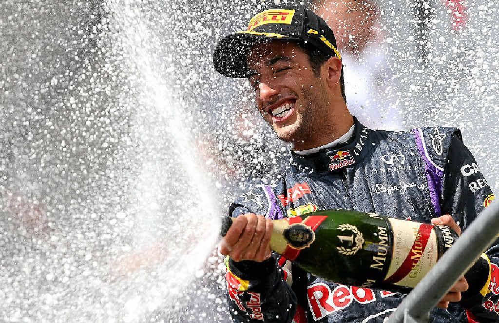 Daniel Ricciardo celebrates his win.