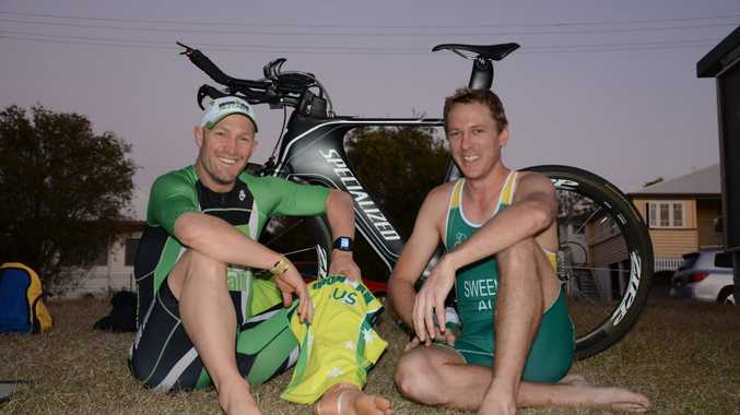 Anton Guinea and Brent Sweeney are two of four Gladstone triathletes ready to take on the world as part of Australian teams at World Championships in September.