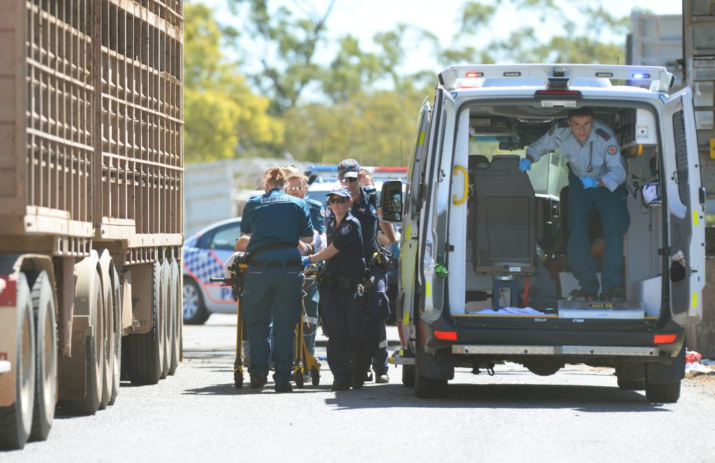 Emergency services responded to the CQLX Gracemere Sale Yards where a man sustained a head injury in a workplace accident. Photo: Chris Ison / The Morning Bulletin