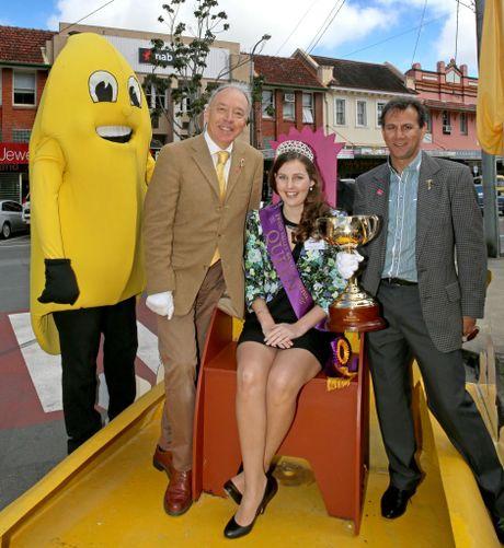 "Tweed Valley Banana Festival mascot ""Banana Jim"", cup historian Andrew Lemon, reigning Tweed Valley Banana Festival Queen Tammy Dundon and cup-winning jockey John Marshall on the banana festival float, ahead of this weekend's Tweed Valley Banana Festival."
