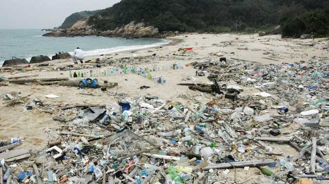 South Sokos Island, Hong Kong, China. The uninhabited island is rarely visited by anyone, consequently large amounts of marine-borne plastics have built-up over time