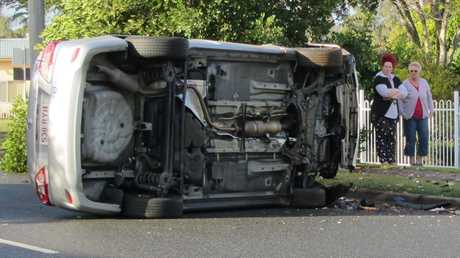 The scene of a single vehicle crash on Ripley Road on Thursday morning. Photo: Peter Chapman / The Queensland Times