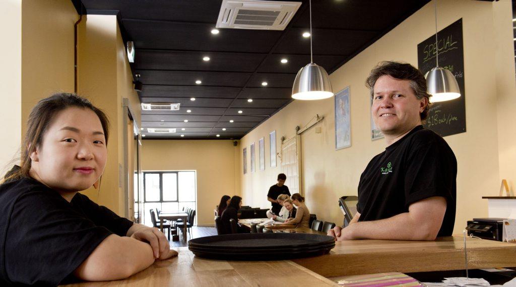 ( from left ) Joanne Park manager and Jeff Brady owner. Kajoku, new Japanese/Korea restaurant in Toowoomba . Thursday, Aug 28, 2014 . Photo Nev Madsen / The Chronicle