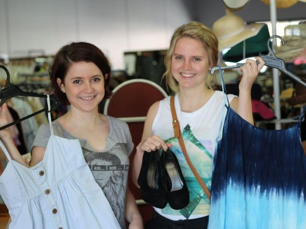 Sisters Morgan (left) and Jordan Lee on the hunt for a bargain at the Lifeline Emporium.