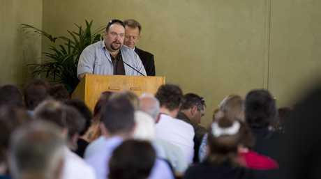 Derek Reidy speaks at Nic Burton's funeral.