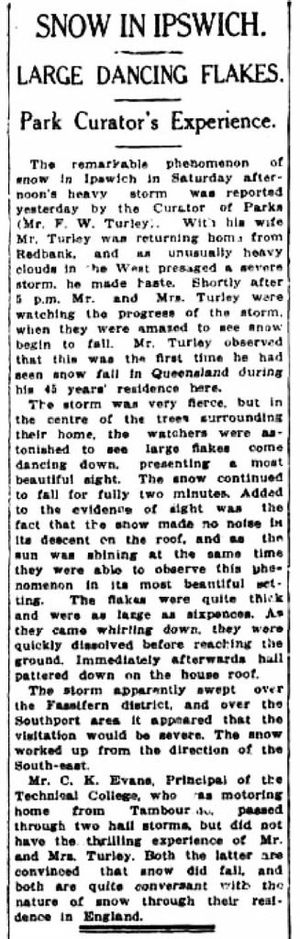 The Queensland Times page from September 3, 1934 with the story telling of snow falling at Queens Park Photo: Contributed