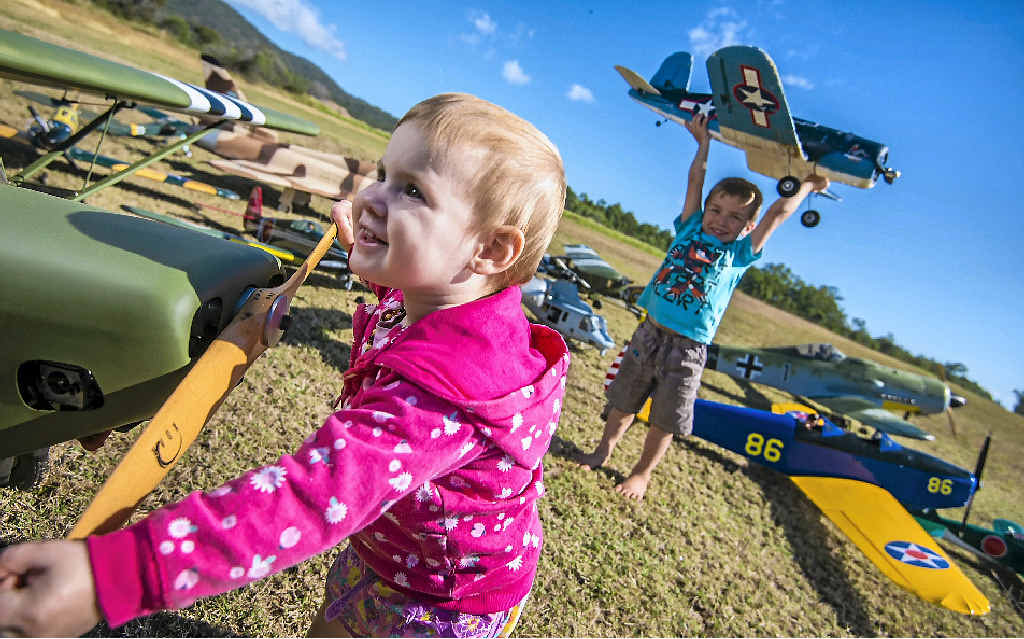 GOING UP: Myia Josefski and Jack O'Dell, whose grandparents are on the Gladstone Model Aero Club committee, are looking forward to a weekend of watching warbirds fly at Yarwun.