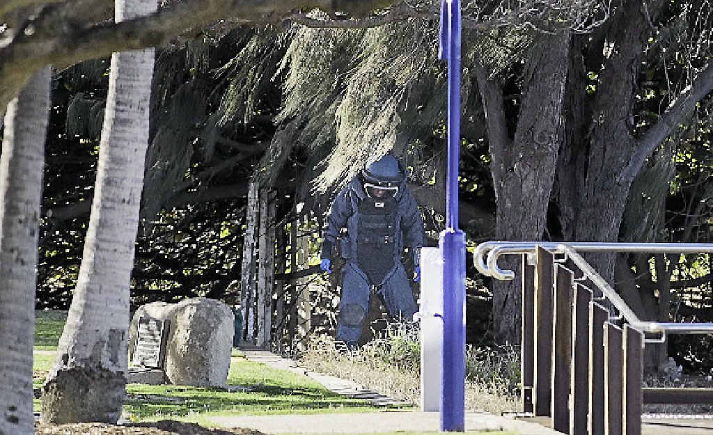 DESTROYED: A suspicious device was detonated by Gladstone Police at Barney Point on Thursday.