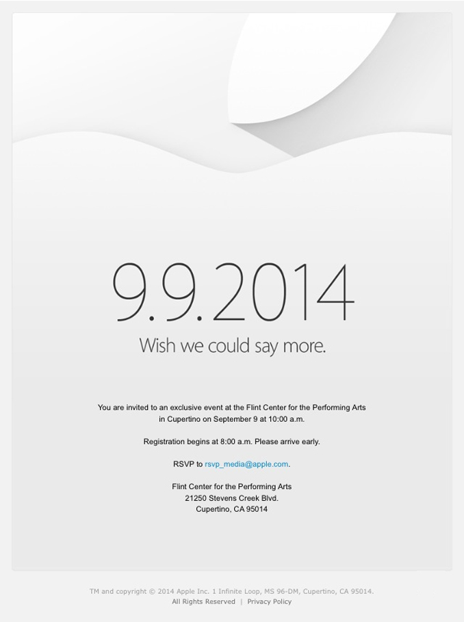 An invitation from Apple to attend their launch event on September 9, believed to be for the iPhone 6 and potentially the iWatch