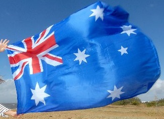 Flying the Aussie flag.