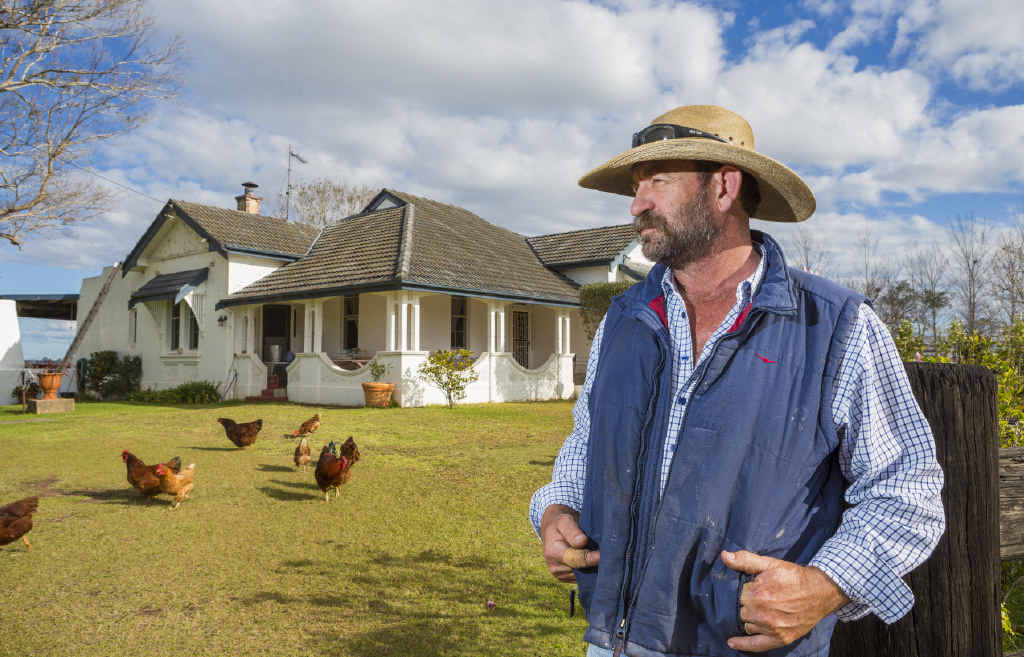 Greg Nicholls in front of his property near Great Marlow which he fears may go further underwater in floods due to proposed levee changes.
