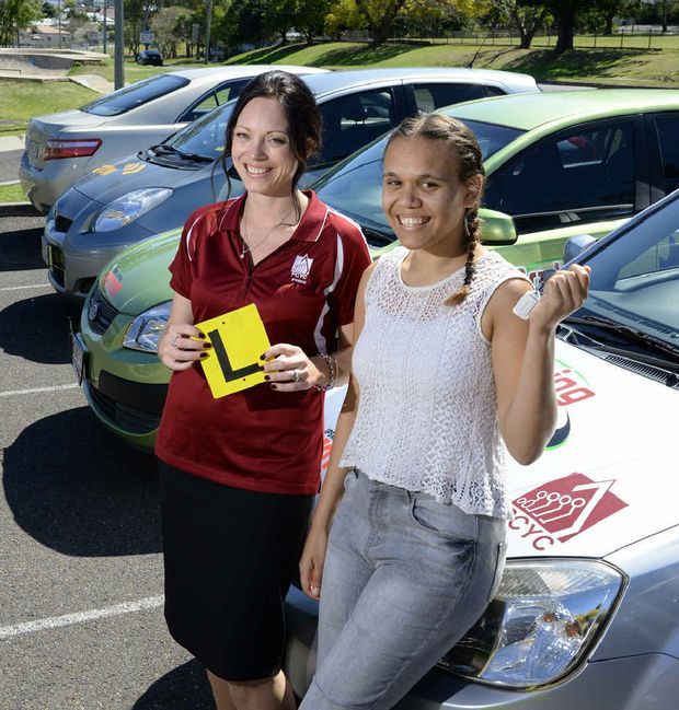 DRIVING RECORD: Ipswich PCYC development officer Ange Holter and Braking the Cycle student Ngarijan Rossir celebrate the program's second anniversary.