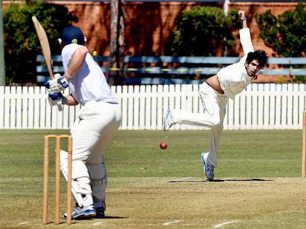 Maryborough cricket - Wide Bay versus India (Madhya) - bowler Saranassh Jain. Photo: Valerie Horton / Fraser Coast Chronicle