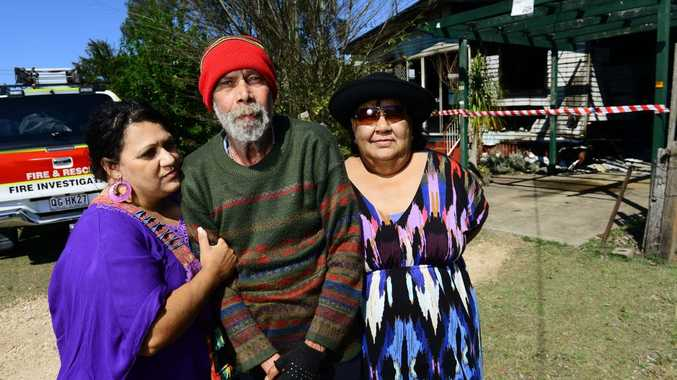 NOT HAPPY: Victim of a house fire at One Mile, Ricky Murphy with his niece Letissa (left) and sister Laverne (right).