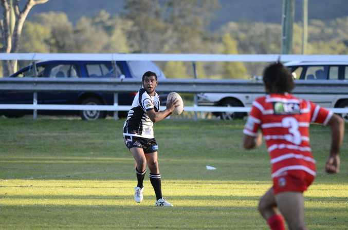 Lower Clarence Magpie Grant Brown during their Northern Rivers Regional Rugby League (NRRRL) match against Byron Bay Red Devils.
