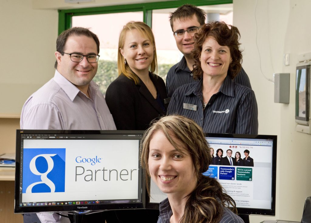 1300WEBPRO has become a Google Partner. Pictured are (back from left) ( James Deck, Nury Barros, Tristan Lostroh, Lisa Wolff and (front) Tamar Smart.