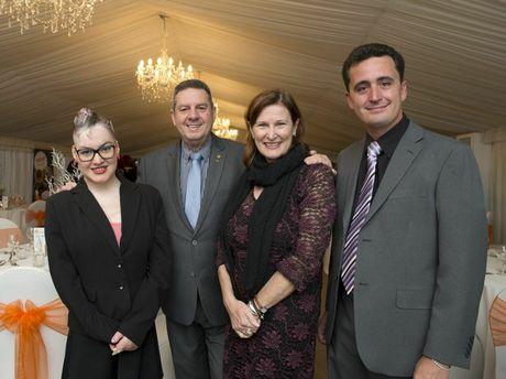 Guests Sophie Delezio, dad Ron Delezio and mum Carolyn Martin with awards co-ordinator Paul Wilson.