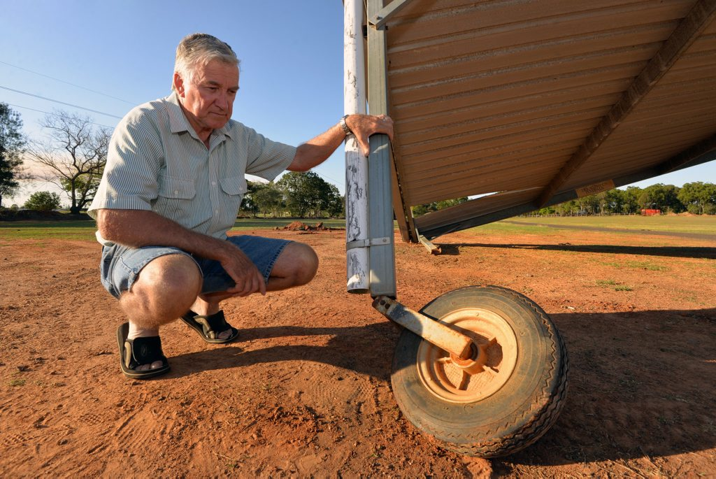LOW ACT: Des Allen was devastated to find out that some vandals had destroyed his funeral pavilion over the weekend. Photo: Zach Hogg / NewsMail