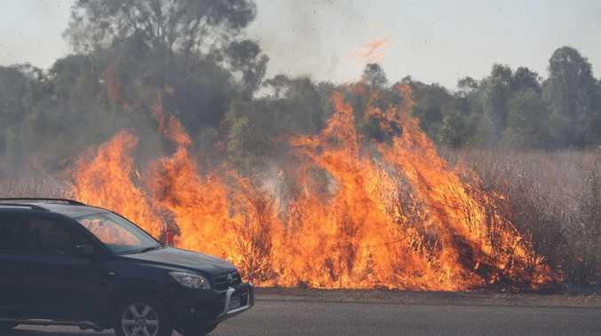 Fire at Benaraby on Sunday.