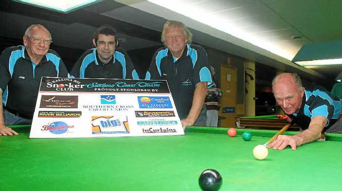 READY TO PLAY: Ballina's Allan Philp, 91, with (from left) John Stoker, Toby Towner and Shaun Quinlan, lines up a shot in preparation for this weekend's Ballina Billiards and Snooker Club's Southern Cross Snooker Classic.