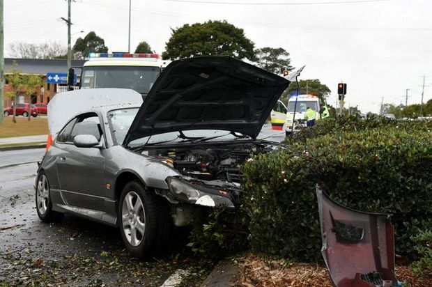 A car crash on Lower King St, Caboolture on 22/08/2014. Photo Jorge Branco / Caboolture News