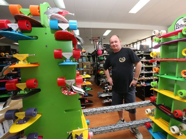 Owner Mark Meyer from Scoot and Skate at Kawana is cleaning up after his shop was broken into after only being open for a day.