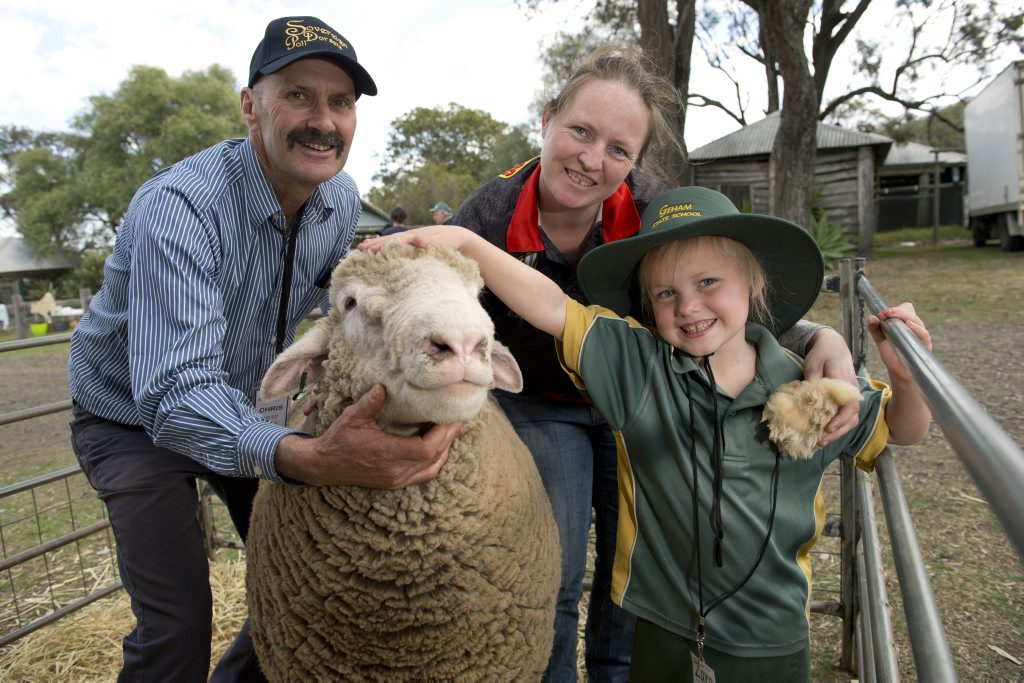 Geham State School student Zara Ryan pats a sheep from the Sovereign Poll Dorsets stud with mum Patina Ryan and Chris Rubie of Sovereign Poll Dorsets at the Heritage Bank Ag Show at Toowoomba Showgrounds, Tuesday, September 02, 2014. Photo Kevin Farmer / The Chronicle