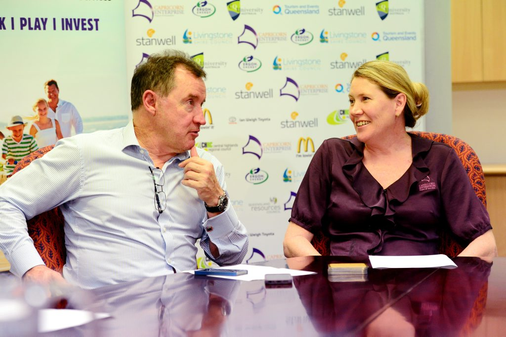 Tower Holdings CEO Terry Agnew and Capricorn Enterprise CEO Mary Carroll discuss the Great Keppel Island Revitalisation Project in Rockhampton. Photo Sharyn O'Neill / The Morning Bulletin