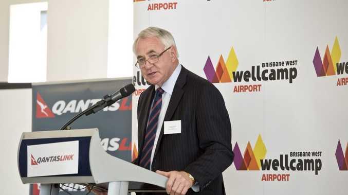 Mayor Paul Antonio at the Qantas announcement at Wellcamp Airport.