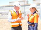 Energy Minister Mark McArdle talking with Powerlink chief executive Merryn York. Photo Andrew Backhouse / The Observer