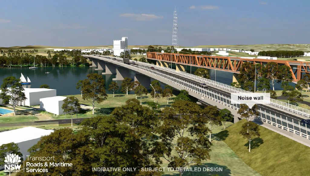 Grafton's proposed new bridge as shown in the Roads and Maritime Services animation.