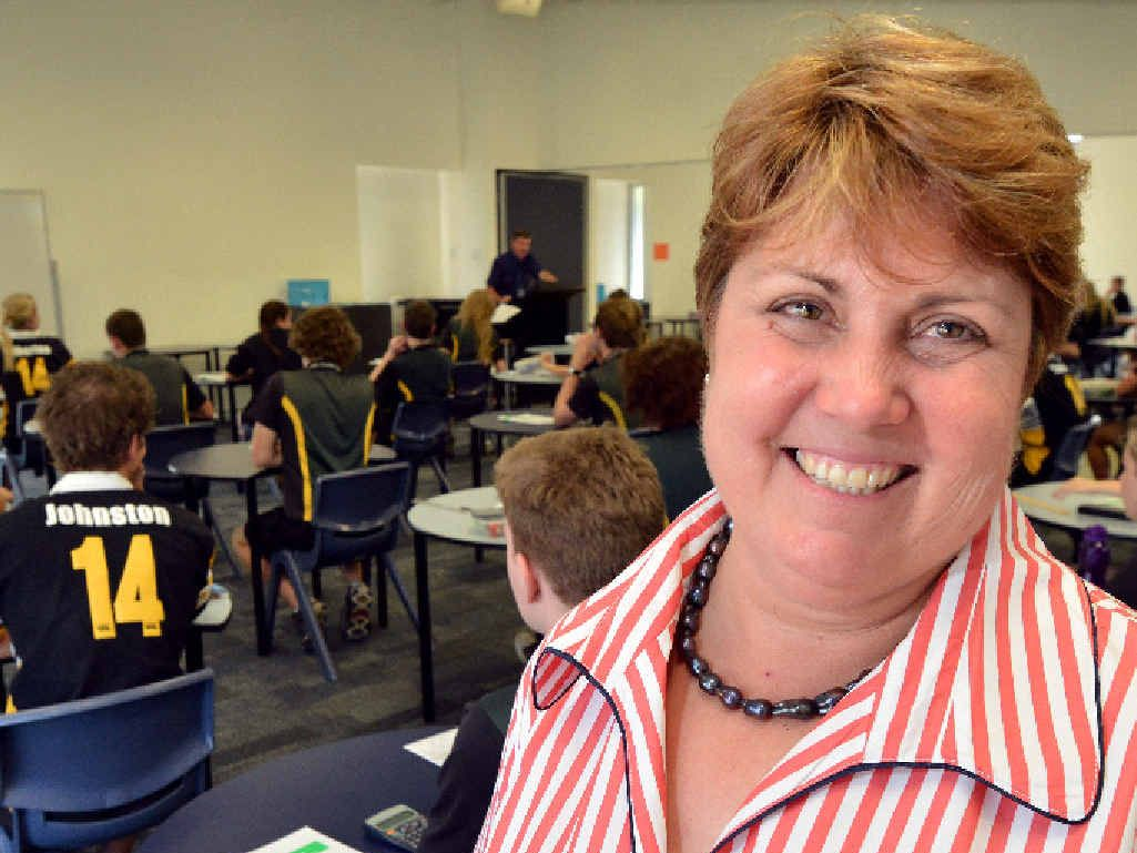 WATCHFUL EYE: Teacher Donna Johnston oversees Queensland Core Skills testing at James Nash State High School yesterday.