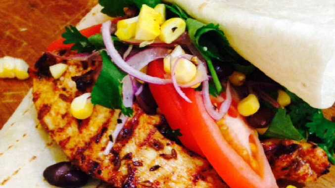 Sophia Ramos' Mexican inspired grilled chicken with sweet corn and black bean salsa.