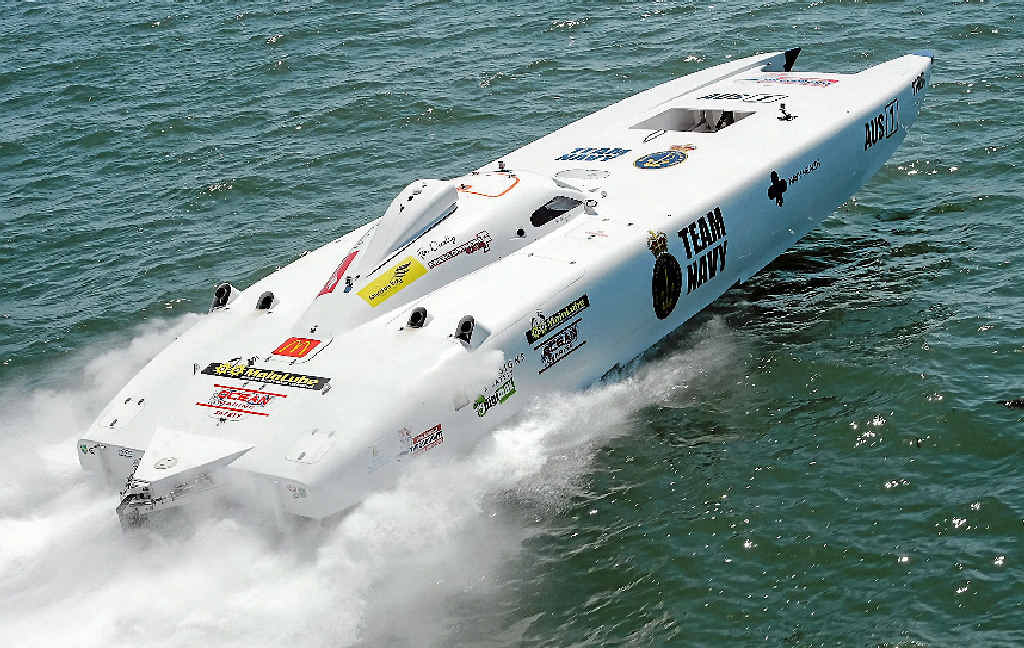 BACK ON BOARD: Team Navy, under power in the Australian Offshore Superboats championships, is expected to be in action next year off Mackay Marina.