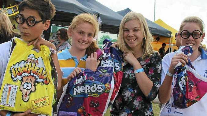 Noah Kiria, Bonnie Howard, Tysharna Wright and Imogen Bilbrough were keen to tuck into their showbags at last year's Warwick West fete.