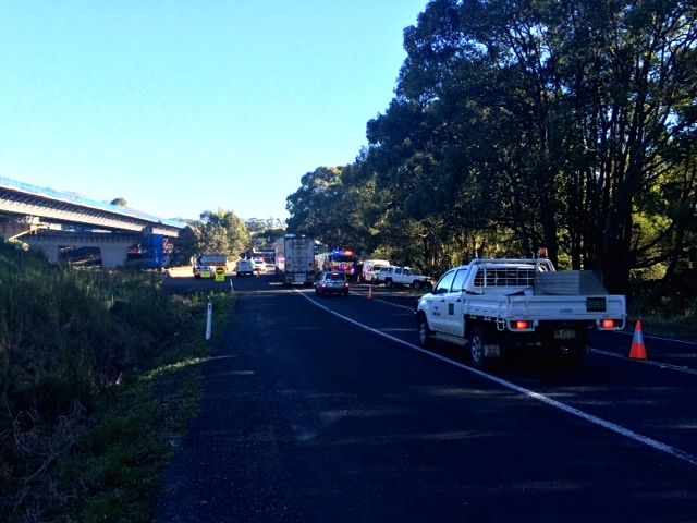 The scene of the fatal crash scene on the Pacific Highway near Ballina. Photo: Alex Easton