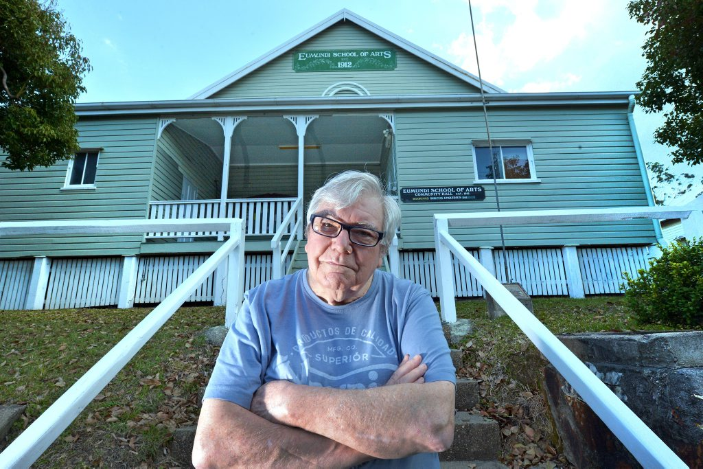 Eumundi Independent Theatre President John Burls is not happy about having to leave their home at Eumundi School of Arts and are looking for a new place to put on plays. Photo: John McCutcheon / Sunshine Coast Daily