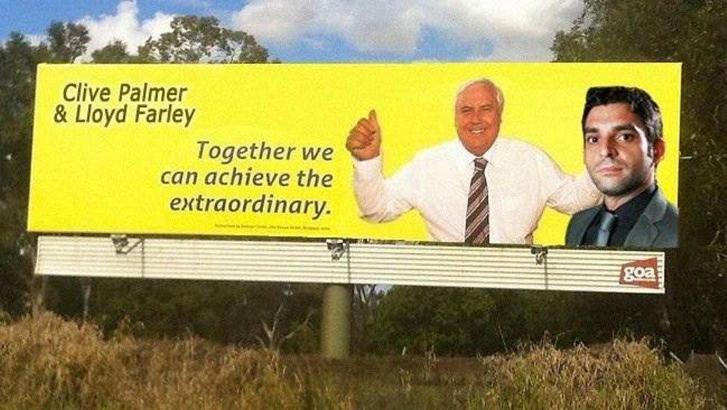 Maryborough man Lloyd Farley has photoshopped himself onto a Clive Palmer billboard.