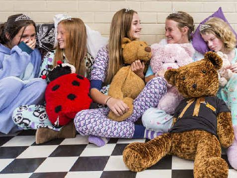 IT'S A SCREAM: Decked out and ready for their pyjama party at I Scream on Friday, September 12 from 6.30-9pm are Junior Jacaranda candidates Bonita Reynolds, Erica Tillman, Charlotte Sommer, Olivia Alford, Tiahna Woodward, Bernadette White, Maeve Grant and Megan Tillman. Photo Adam Hourigan