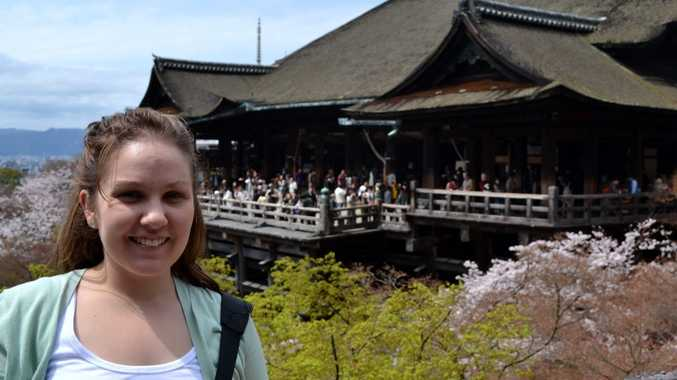 WORLD VIEW: Jessica Taylor at the Kiyomizu-dera temple in Kyoto during her year in Japan. Jessica will be graduating with a Master of Arts at this Saturday s USQ graduation ceremony.