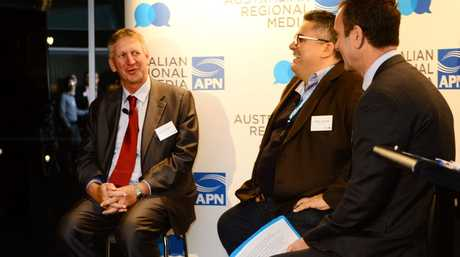 Wagners director Denis Wagner (left) with fellow guest speakers Victor Corones of Magna Global and Bryce Johns APN editorial director Photo David Nielsen / Queensland Times
