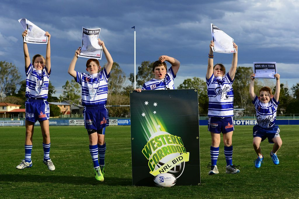 SIGN UP: Brothers junior rugby league players, from left, Dylan McAteer, 11, Brayden Waddle, 10, Thomas Hall, 12, Hailey Hall, 9, and Tate Waddle, 5, join in the support for a Western Corridor NRL bid team and will ask their parents to sign today's petition on page 6.