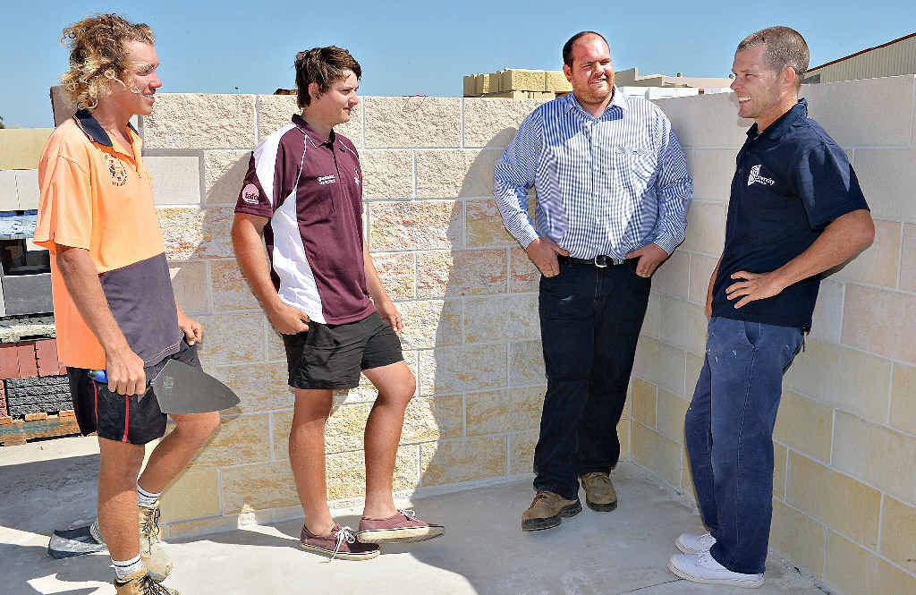 ON A MISSION: Jack Sommerfeld and Toby Tosh chat with Lyndons branch manager Chris Zahra and CQU Trainer/assessor Peter Carr about the upcoming WorldSkills national competition.
