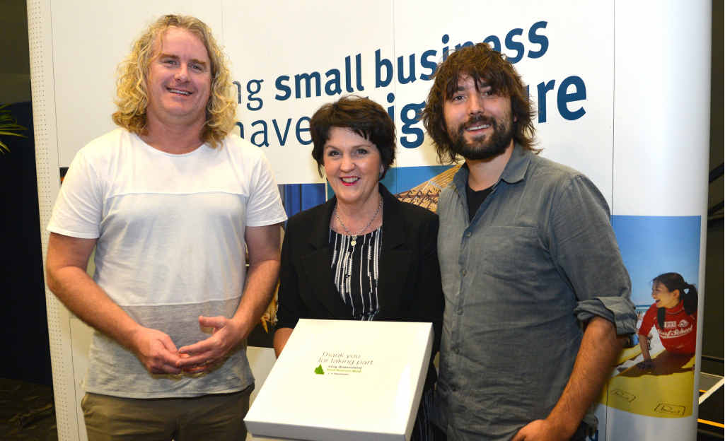 KEY ADVICE: Celebrating Small Business Week at the Innovation Centre are Nick Bowditch, State Minister Jann Stuckey and Tom Szaky.