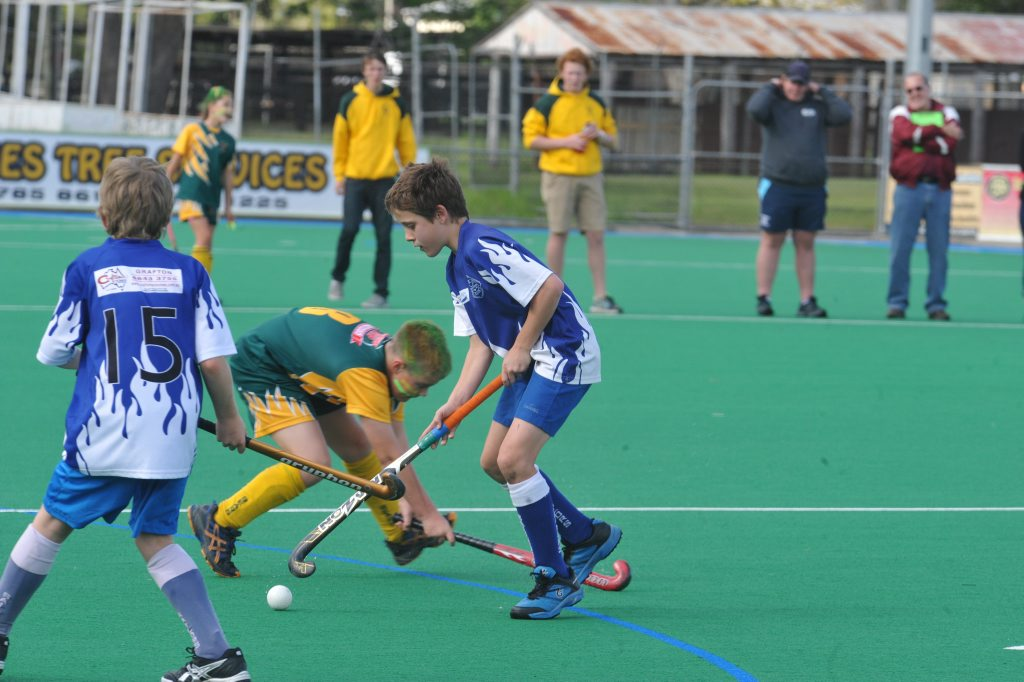 Sailors Scuttlers' Tyler McGarvie scores the Grafton Hockey Association under-11s grand final against Bears Big River Pizza at Grafton Hockey Complex on September 6. Photo Matthew McInerney / Daily Examiner