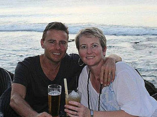 MISSING: Noosa surfer Peter Maynard, pictured with wife Kylie, checked into his hotel on Nusa Lembongan on August 23, and was reported missing by staff days after he was to check out on August 28.