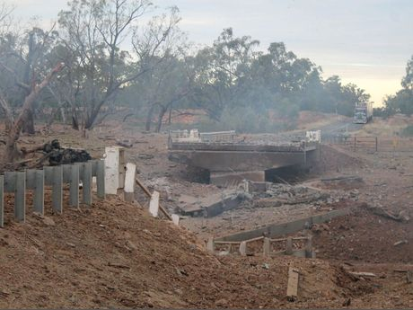 The destruction of a bridge on the Mitchell Hwy has caused major issues for heavy freight transporters.